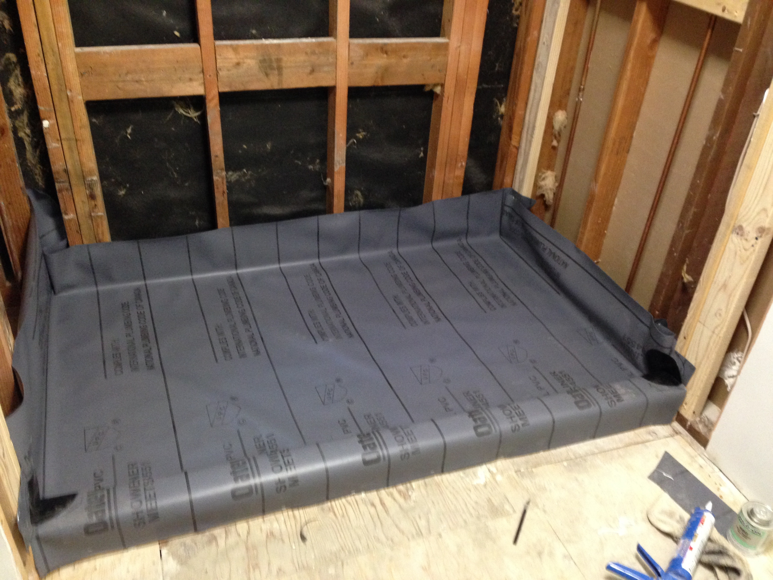 After That Dried, I Installed Shower Pan Membrane From Home Depot: