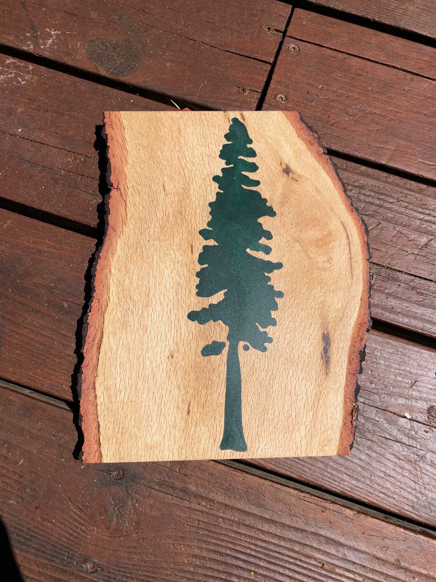 Green redwood tree epoxy art