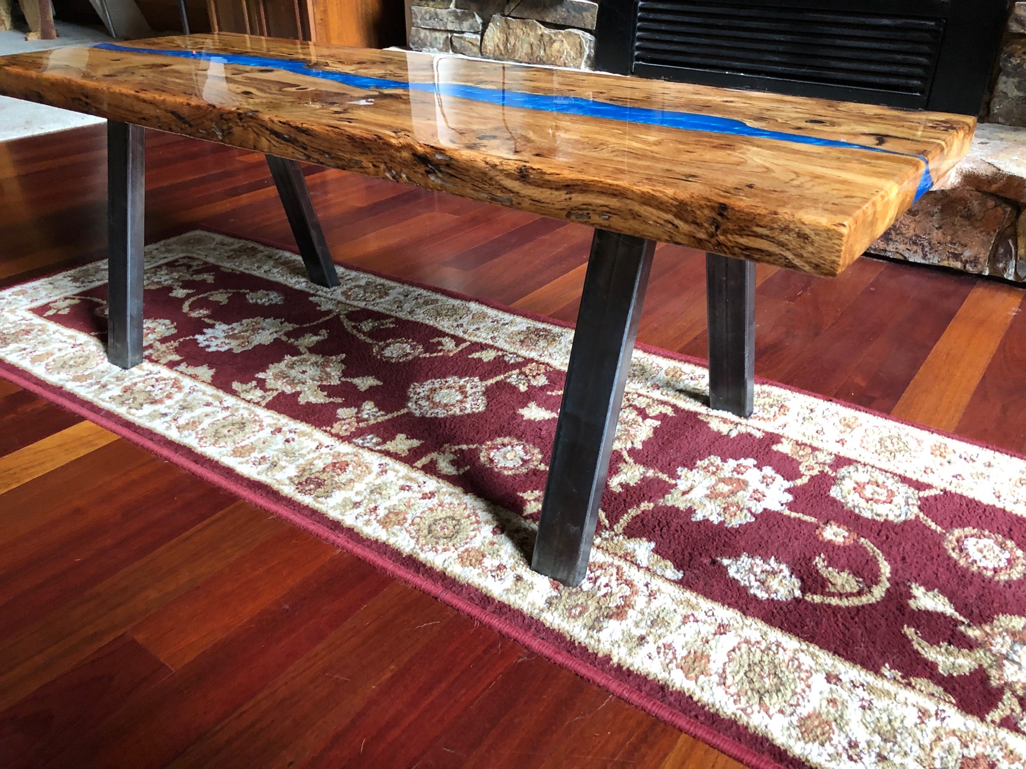 Blue river coffee table - side view