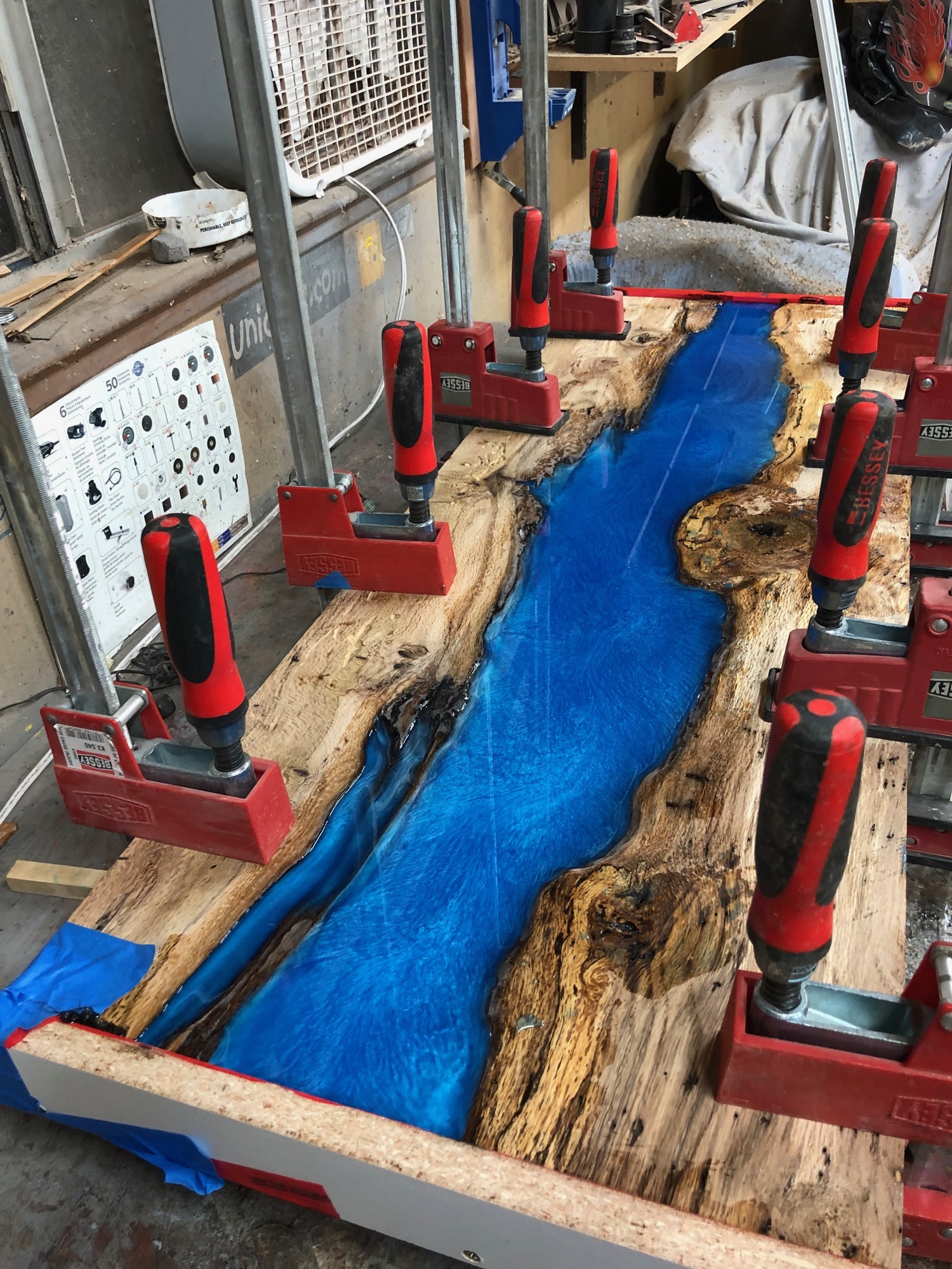blue  river table pour epoxy