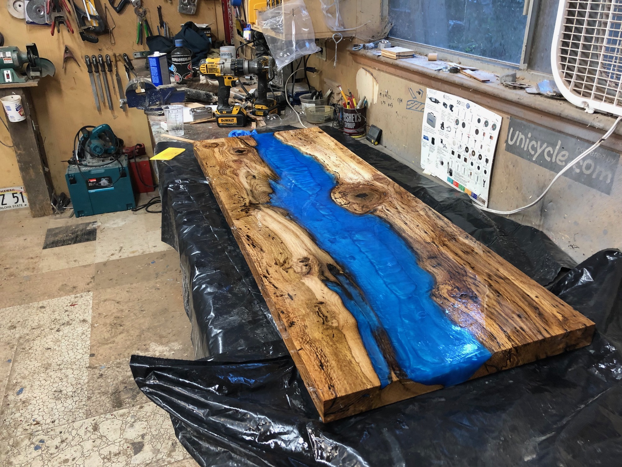 epoxy table fresh out of the mold