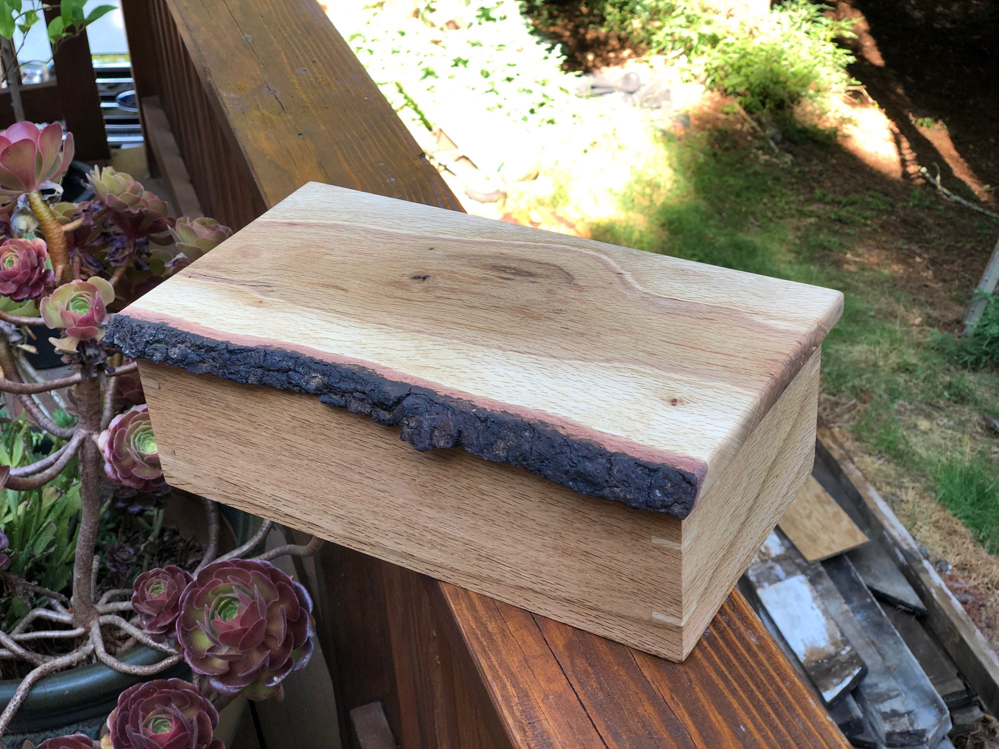 Live edge wood box right side