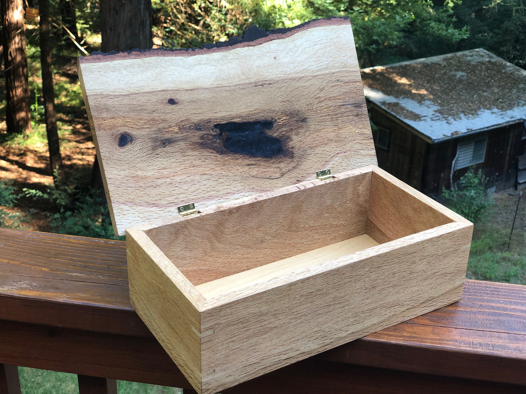Live edge wood box with top open