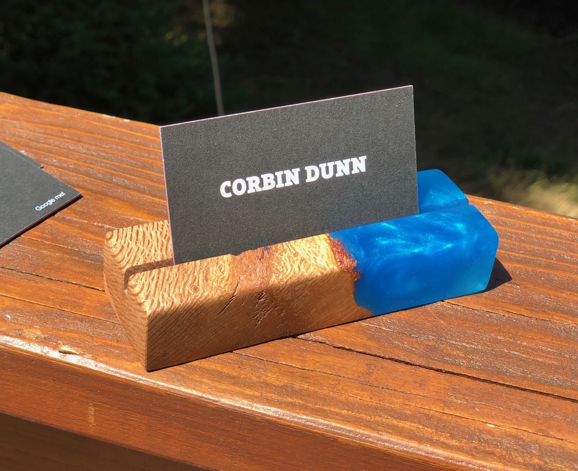 Epoxy business card holder