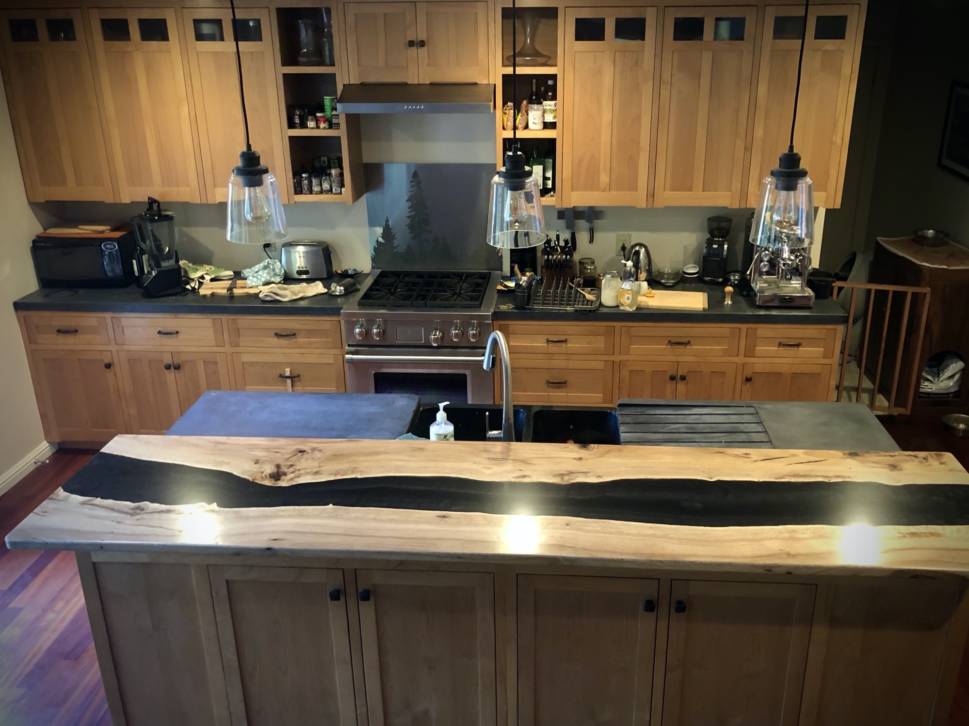 Epoxy bar top kitchen remodel wood