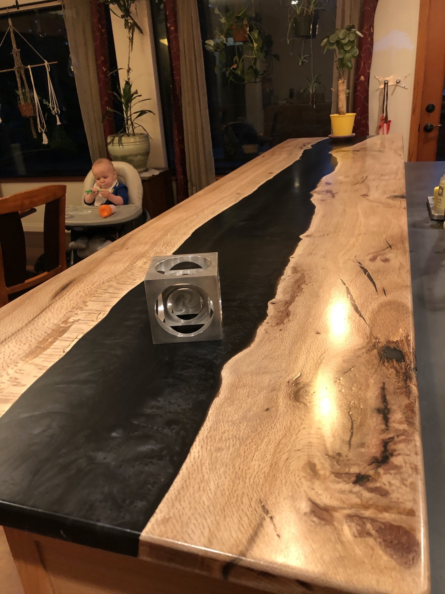 Epoxy river table bar top