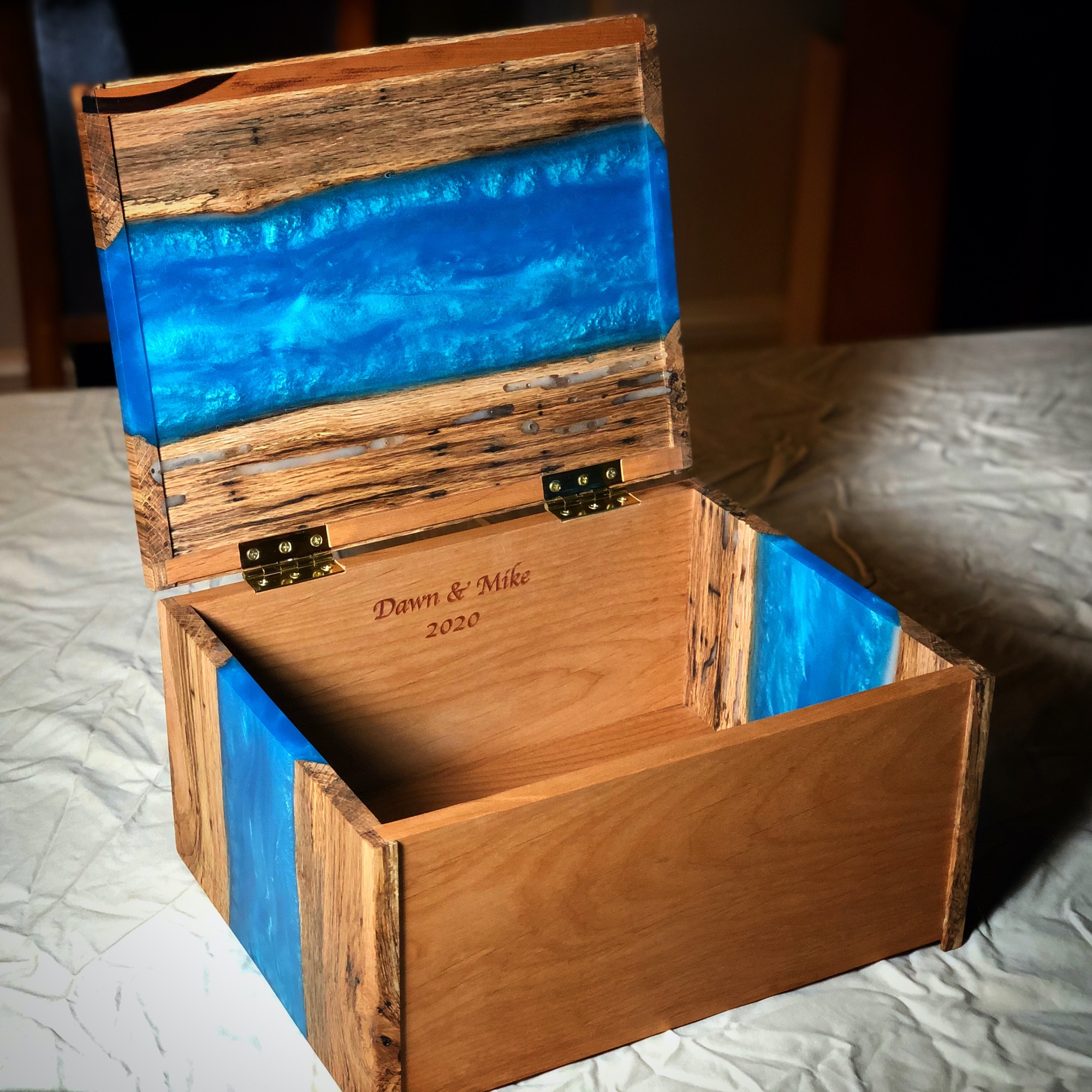 River Box - blue pigment filling