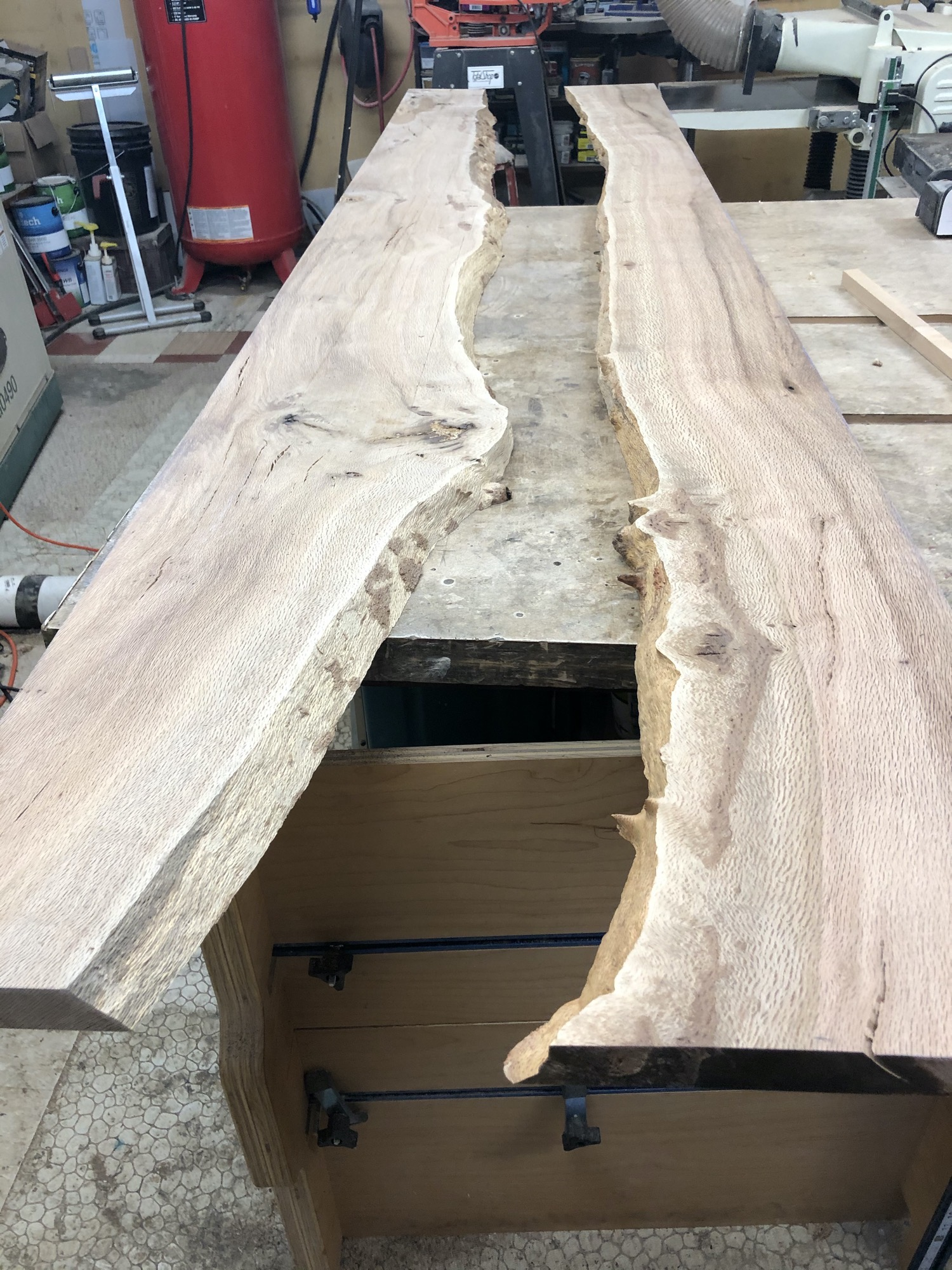 Wood split in the middle for the river table bar top