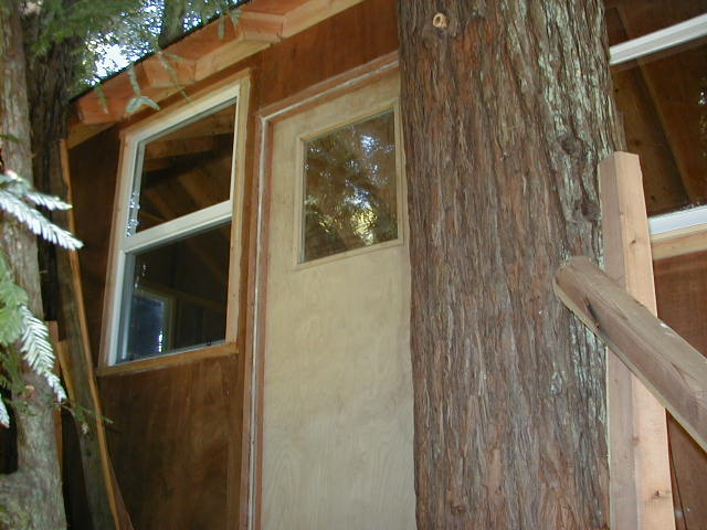 This is the door for the treehouse. I recently sanded/painted it and will take a picture of the finished door really soon. & Corbinu0027s Treehouse - A real tree house in Santa Cruz California ...